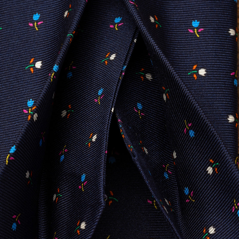 Silk Floral Tie in Navy Blue with Tulips-ANTORINI®