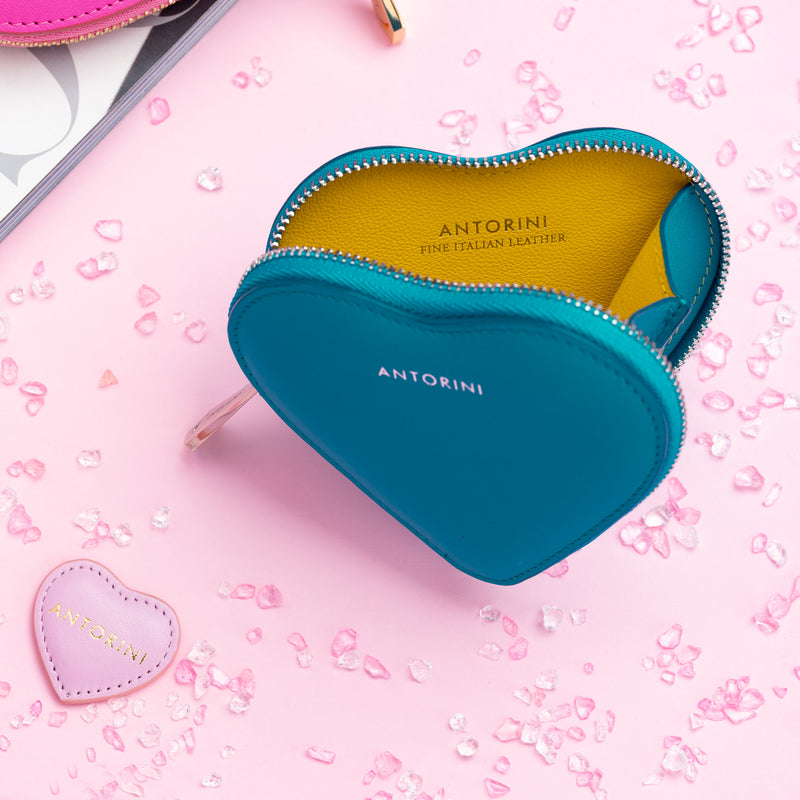 ANTORINI Heart Coin Purse in Turquoise