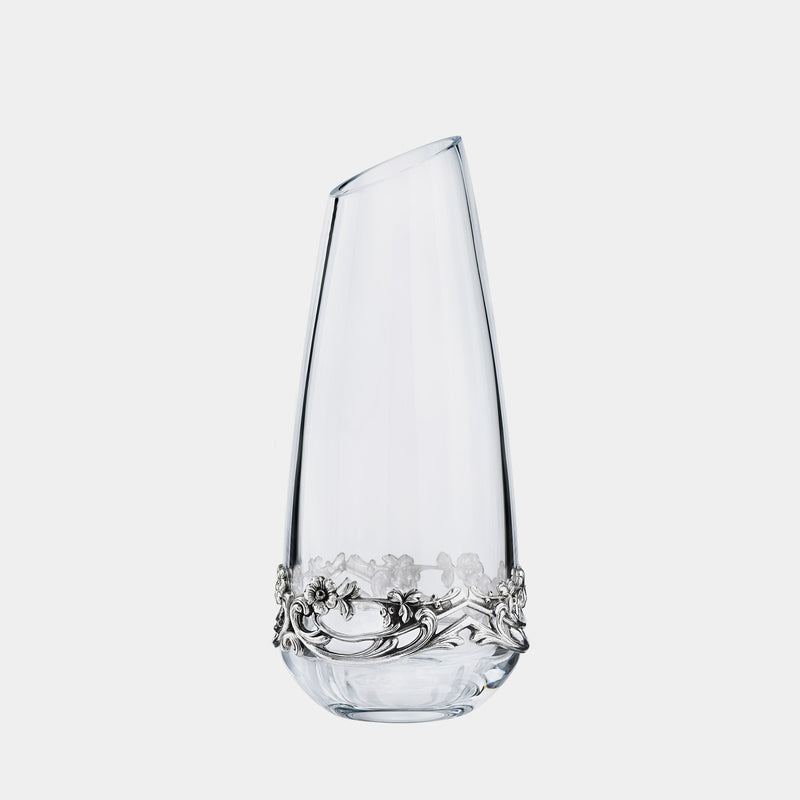 Small Glass Vase Elisabeth, With Silver Plated Flowers-ANTORINI®