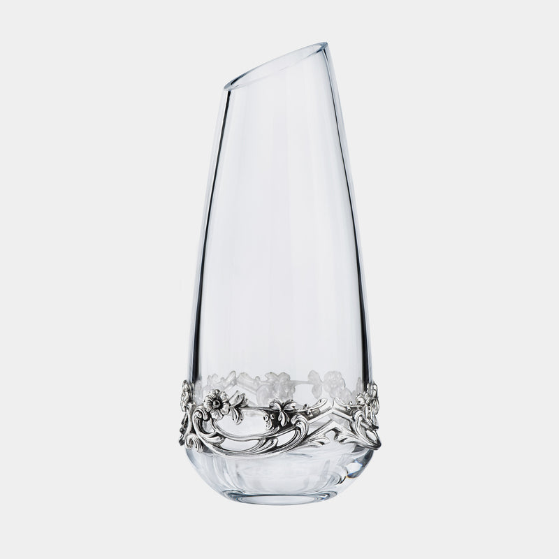 Glass Vase Elisabeth, With Silver Plated Flowers-ANTORINI®