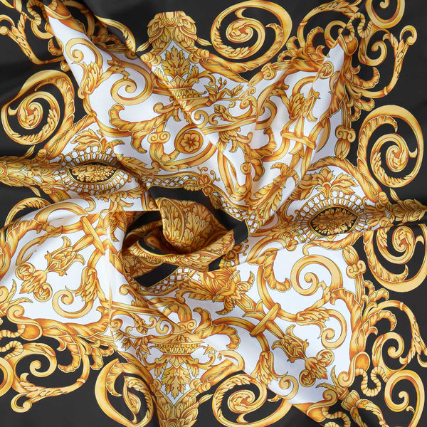 Vintage Silk Scarf in Black-ANTORINI®