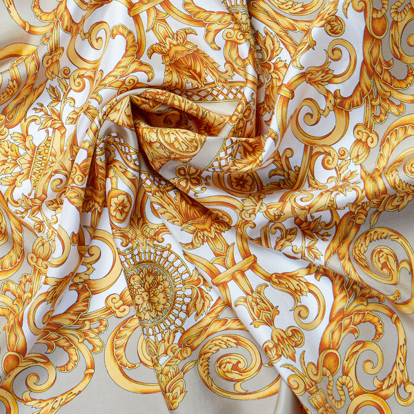Vintage Silk Scarf in Cream