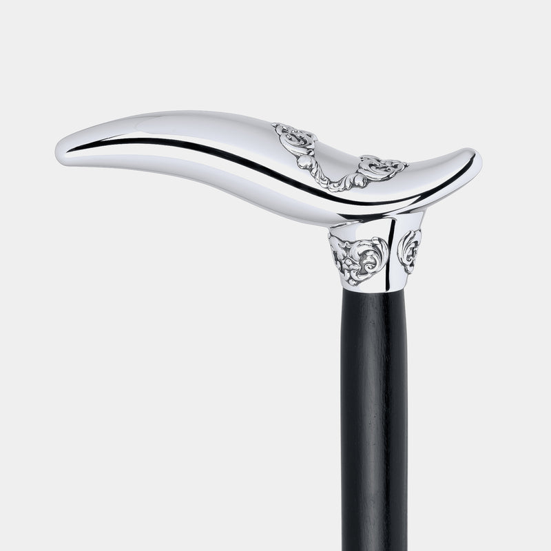 Black Walking Stick With Sterling Silver Handle, Silver 925/1000, 141 g-ANTORINI®