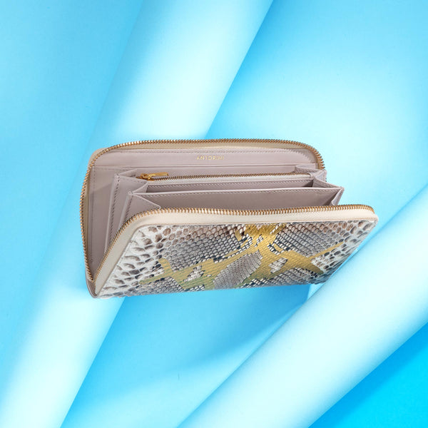 Ladies Snakeskin Purse, Grey & Gold