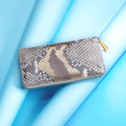 Luxury Ladies Snakeskin Purse, Grey/Gold