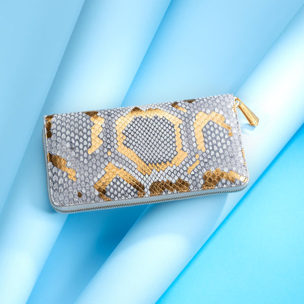 Luxury Ladies Snakeskin Purse, Light Grey/Gold