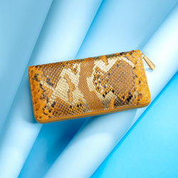LUXURIOUS LADIES ANTORINI COUTURE LEATHER PURSE, GENUINE SNAKE SKIN, Yellow/Gold