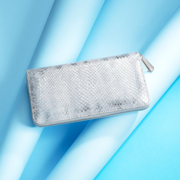 Continental Clutch Zip Wallet ANTORINI Couture in Silver & Ivory