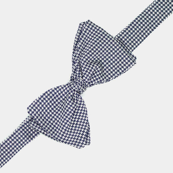 Silk Bow Tie in White and Blue-ANTORINI®