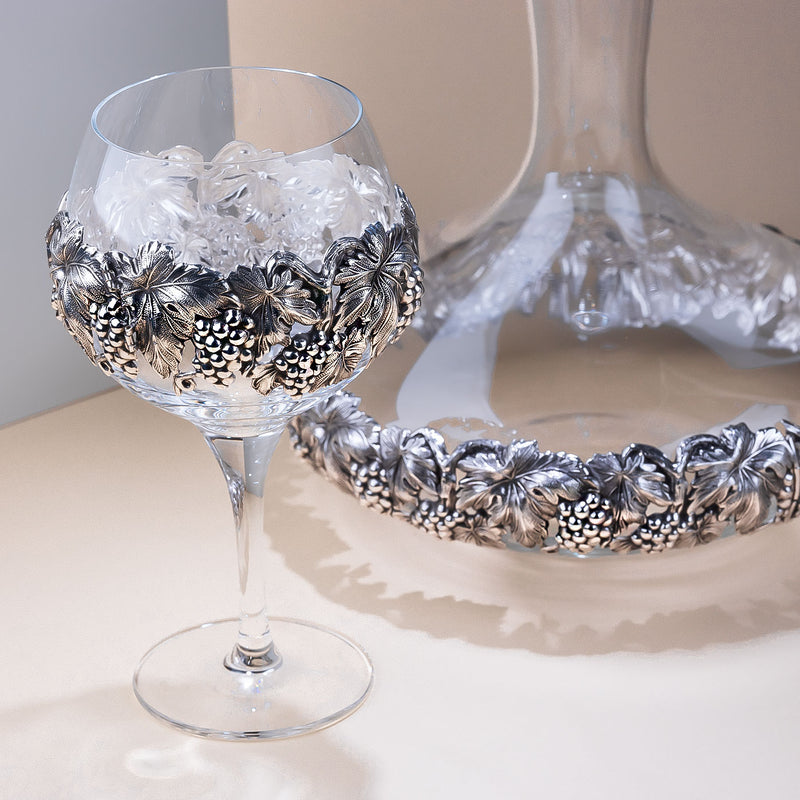 Glass Wine Decanter With Silver Plated Leaves and Grapes-ANTORINI®