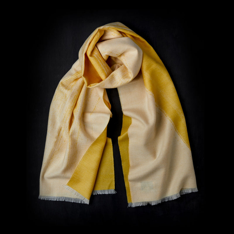 Cashmere Scarf in Yellow and White-ANTORINI®
