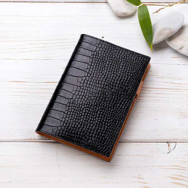A6 Diary in Black Croc and Cognac-ANTORINI®