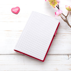 Slim Leather A6 Diary in White and Fuchsia-ANTORINI®