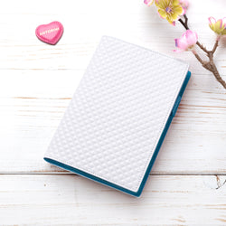 Slim Leather Diary in White and Turquoise-ANTORINI®