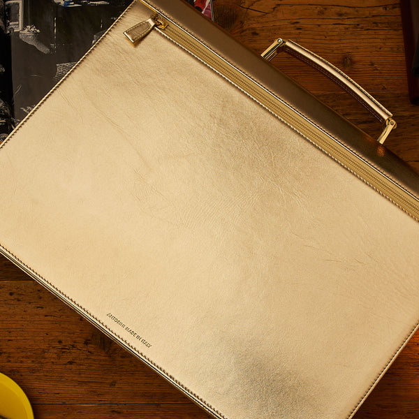 Leather Briefcase in Gold, Limited Edition