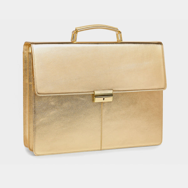 Leather Briefcase in Gold, Limited Edition-ANTORINI®