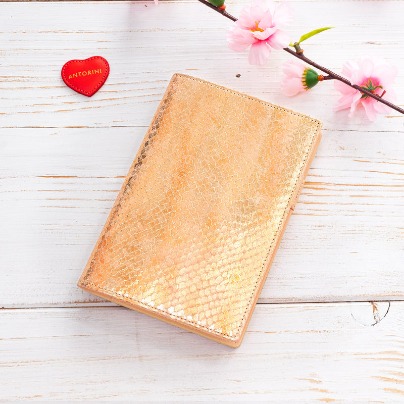 A6 Luxury Leather Journal & Diary in Gold and Nude-ANTORINI®
