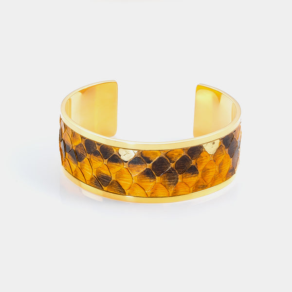 Cuff Bracelet, Orange Snakeskin-ANTORINI®