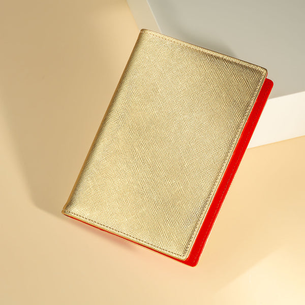 Pocket Diary or Refillable Notebook, A7, Gold Saffiano-ANTORINI®