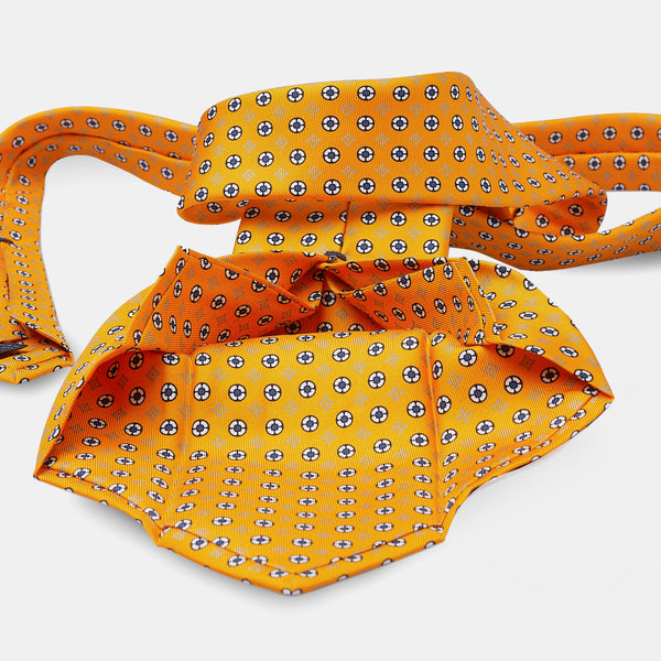 Silk Patterned Tie in Yellow-ANTORINI®