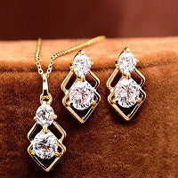 NECKLACE 18K GOLD PLATED AAA CZ STONES MATCHING EARRINGS