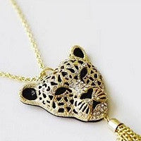 NECKLACE 18K GOLD PLATED CHAIN RHINESTONE LEOPARD HEAD PENDANT