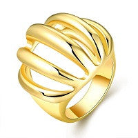 RINGS LADIES 18K YELLOW GOLD RGP CHUNKY MULTI ROW