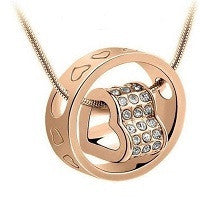 NECKLACE 18K ROSE GOLD PLATED WITH SWAROVSKI HEART+RING PENDANT