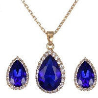 NECKLACE 18K YELLOW GOLD PLATED AUSTRIAN CRYSTALS SAPPHIRE BLUE