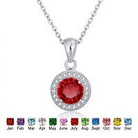 NECKLACE STERLING SILVER CHAIN & PENDANT COLOUR BIRTHDAY STONE