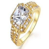 RINGS LADIES 18K GOLD PLATED MICRO INLAY CLEAR SIMULATED DIAMOND
