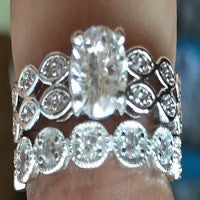 RINGS LADIES 2 PIECE PLATINUM PLATED MICRO PAVE AAA CUBIC ZIRCONIA