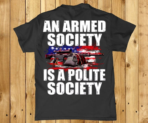 An armed society is a polite society Amercian Men's back print t-shirt
