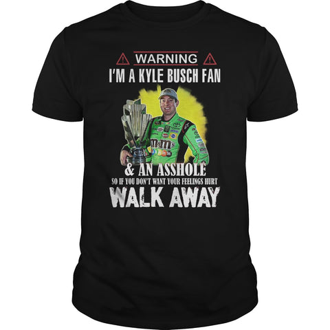 Warning I'm a Kyle Busch fan and an a**hole adult Men's t-shirt Lees krazy tees penn Lees krazy tees - Lees krazy tees