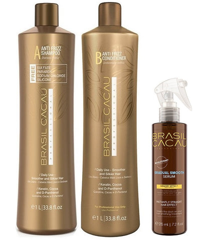 Brasil Cacau Gradual Smooth Serum 215ml + Shampoo & Conditioner 1L