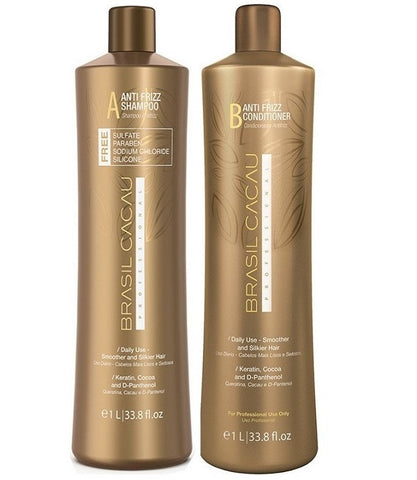 BRASIL CACAU ANTI FRIZZ SULPHATE FREE SHAMPOO & CONDITIONER - 1L