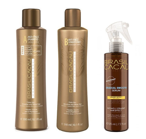 Brasil Cacau Gradual Smooth Serum 215ml + Shampoo & Conditioner 300ml