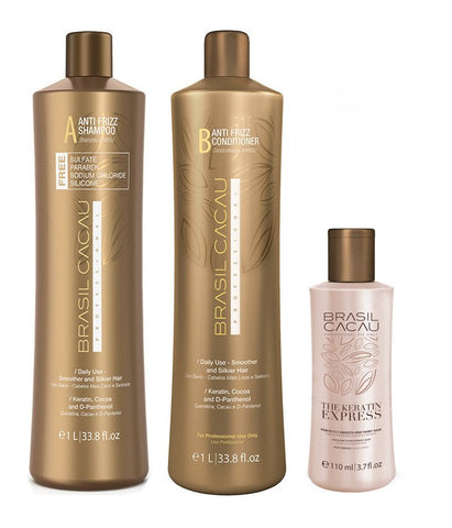 Brasil Cacau The Keratin Express Treatment 110ml + Shampoo & Conditioner 1L