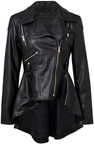 Women Casual Zipper Streetwear Punk Leather Jacket Coat