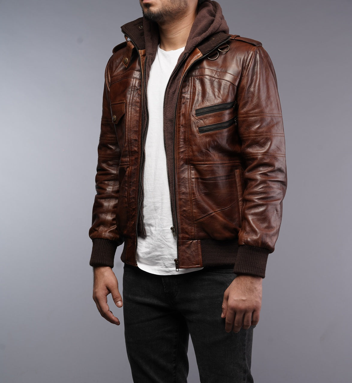 Mens Removable Hoodie Waxed Brown Leather Jacket