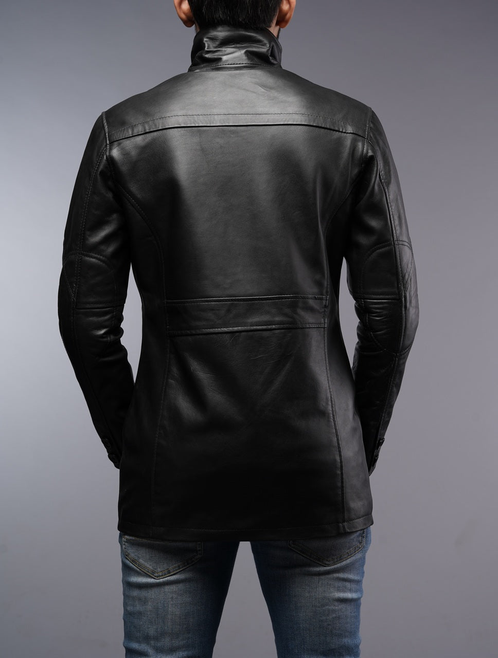 Men's Black Car Coat Leather Jacket