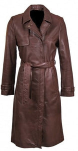 Women's Casual Lapel Slim Fit Chocolate Brown Trench Leather Coat