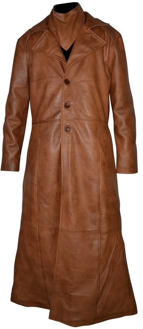 Mens Single Breasted Waxed Brown Trench Leather Coat
