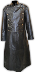 Mens Leather Imperial Military Royal Trench Long Coat