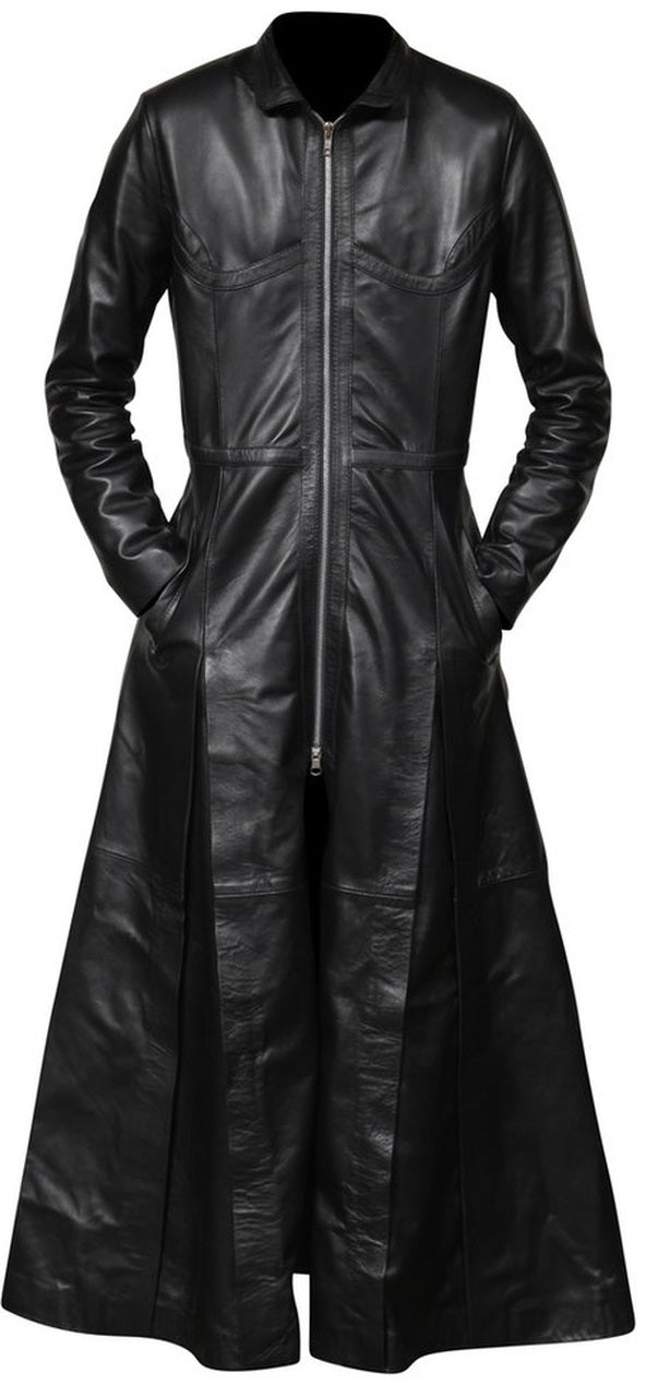 Ladies Trinity Matrix Black New Rock Gothic Leather Coat
