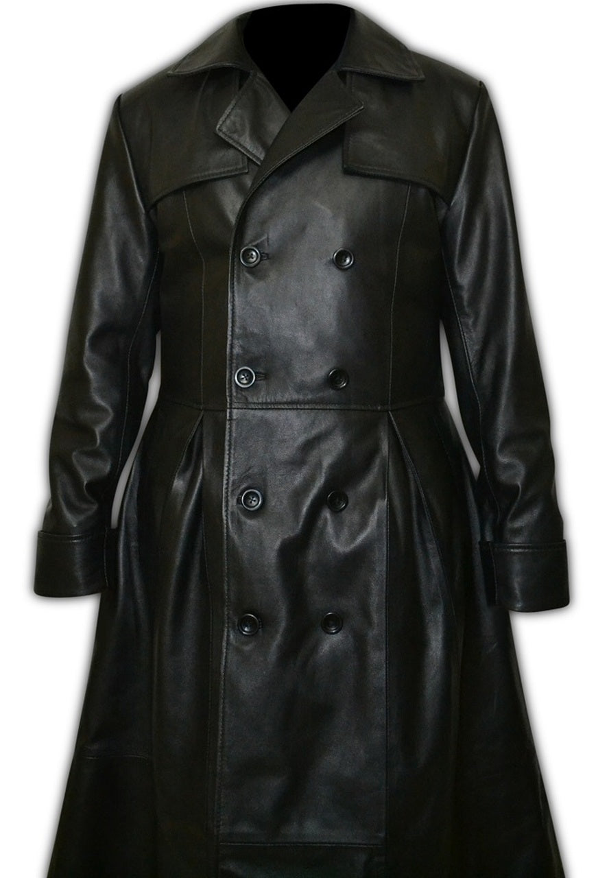 Mens Leather Double Breasted Gothic Trench Long Coat