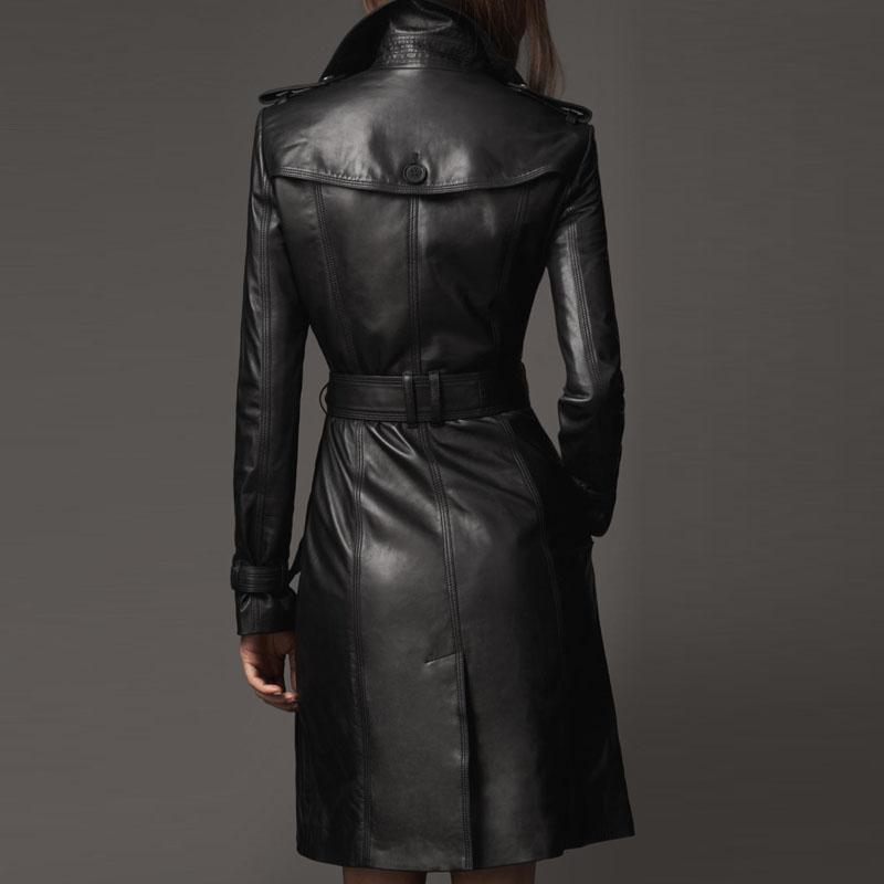 Women Designer Trench Leather Long Coat