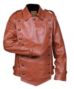 The Rocketeer Billy Campbell Brown V-Shaped Leather Jacket