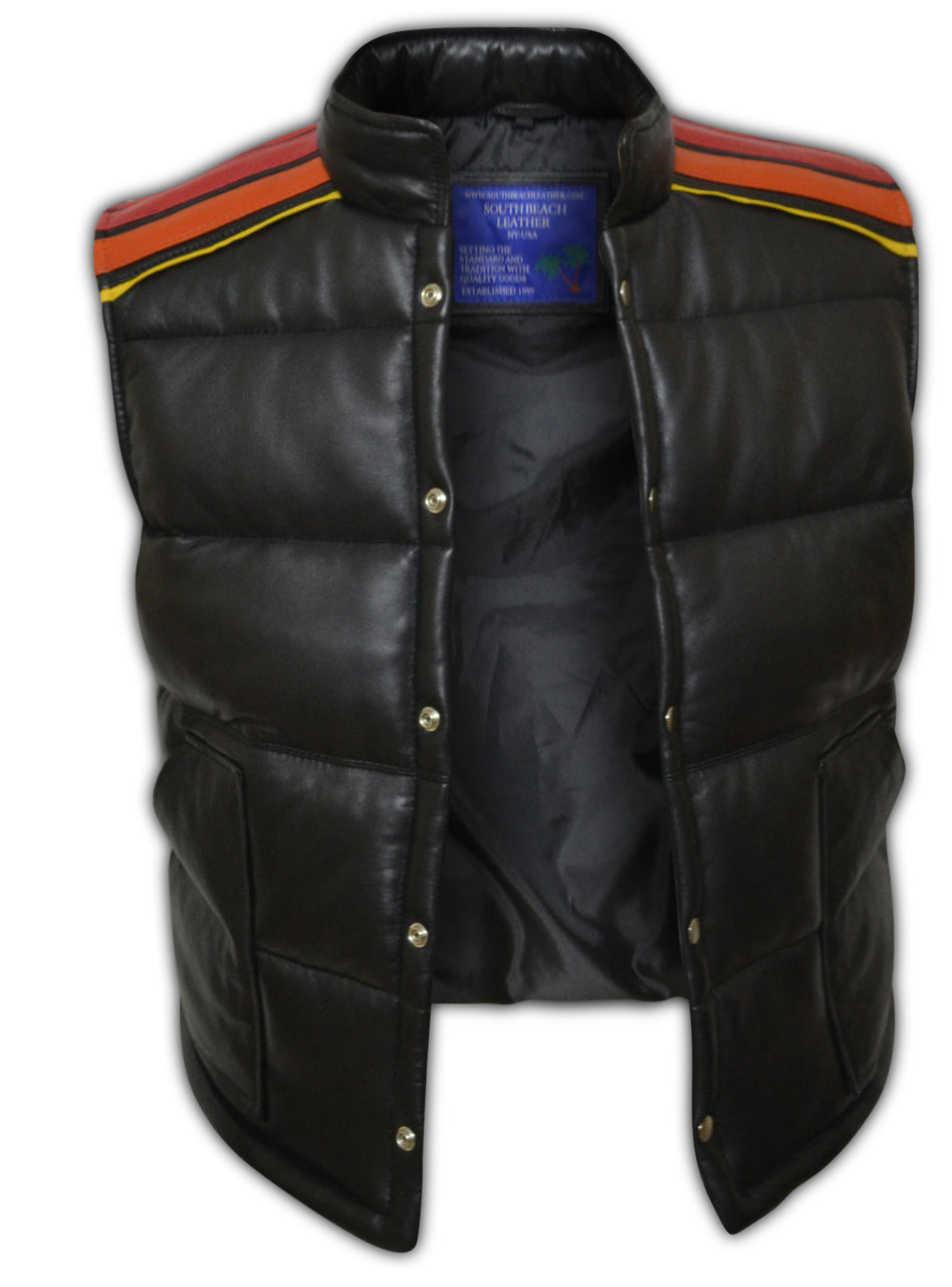 Vintage Tyler Durden Fight Club Simpson Puffer Leather Vest