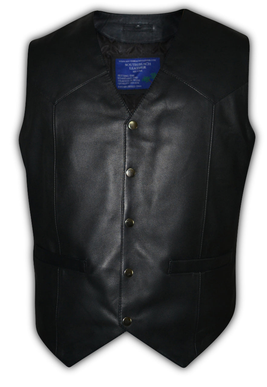 Mens Biker Designer Motorbike Leather Vest